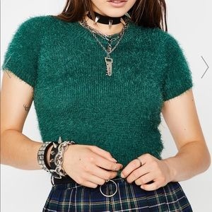 Green Fuzzy Sweater Cropped Top